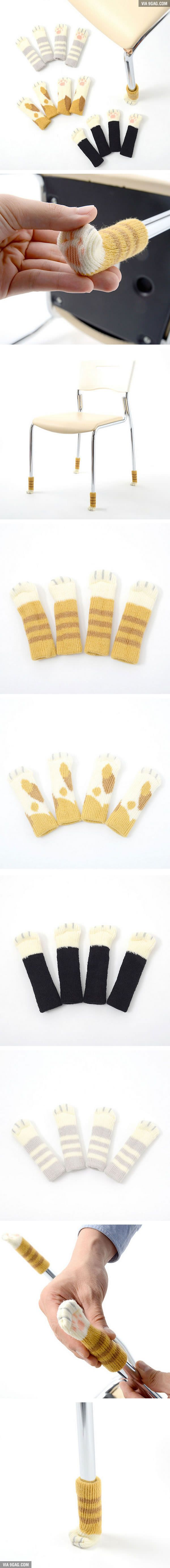 Cat Socks For Tables And Chairs That Protect Your Floor, no pattern but cute idea for knit leg covers.