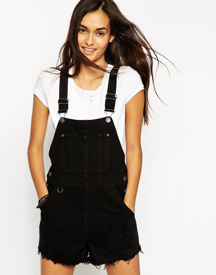 ASOS COLLECTION ASOS Denim Overall Short in Black with Raw Hem