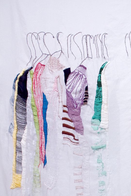 Allison Watkins My CLoset in San Francisco hand stitching on fabric 52x64 (life size) 2010