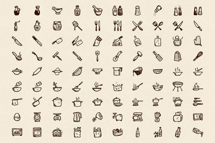 90 Hand-Drawn Kitchen Icons by Hand-drawn Goods on Creative Market
