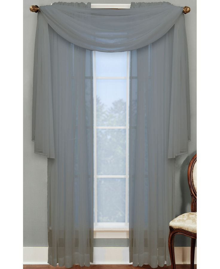 """Miller Curtains Sheer Angelica Volie 56"""" X 216"""" Scarf"""