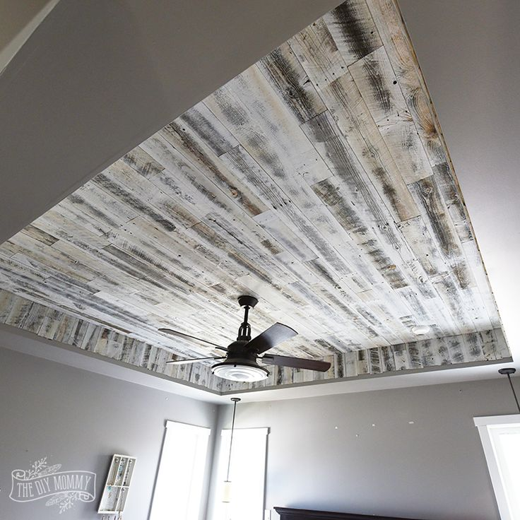 A DIY rustic wood ceiling with white reclaimed Stikwood