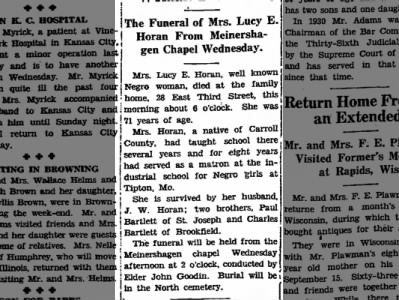 Mrs. Lucy E. Horan notice of death on page 7 on Sept23, 1940