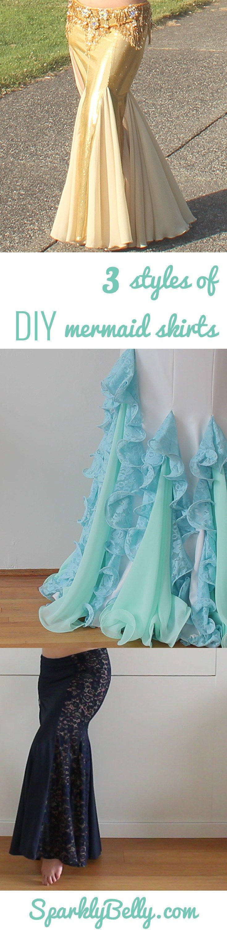 How to Make 3 Styles of Mermaid Skirts from the same patterns