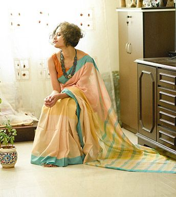 Cotton Sarees - When Colours Sing With Threads- Two Shades Of Sand And The Blue-Green Sea By SuTa PC 20178 - Thumbnail