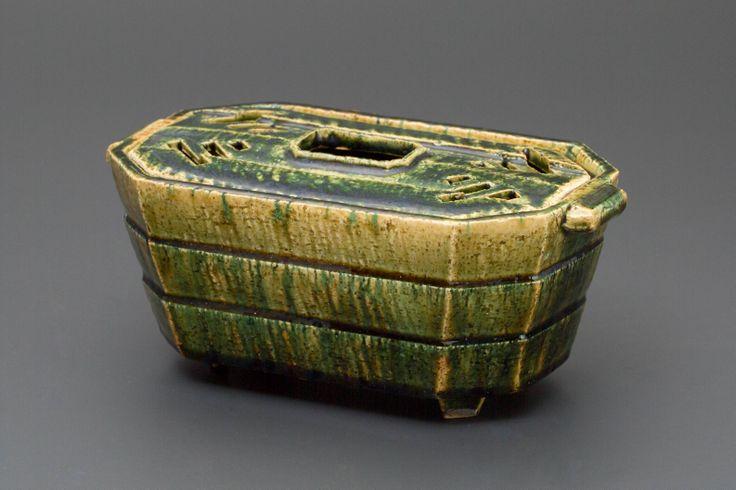 織部刻文スチームポット Steam pot with engraved, Oribe type 2013