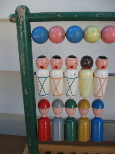 Kay Bojesen toy abacus. Made up of 3 rows of 5 characters: Balls, swaddled babies, and his iconic capped peg people. 1960s
