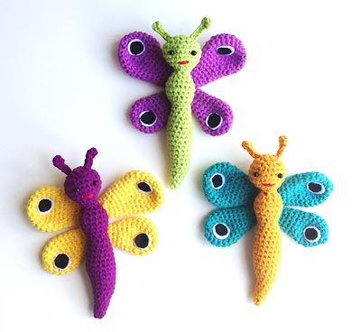 hæklede sommerfugle
