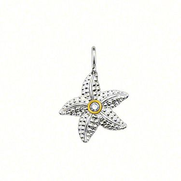 THOMAS SABO Sweet Diamonds starfish pendant with eyelet, made from 925 Sterling silver with 585 yellow gold (14K), diamond (0,014 ct) / round brilliant-cut, size: 1.4 cm.