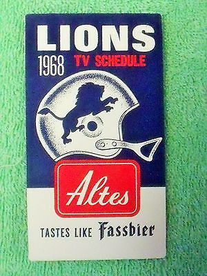1968 Detroit Lions (National Football League) Altes Beer football card schedule