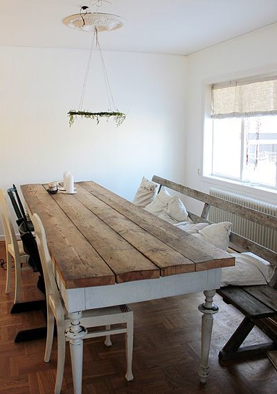 awesome table, love the bench with cushions, opposite the chairs