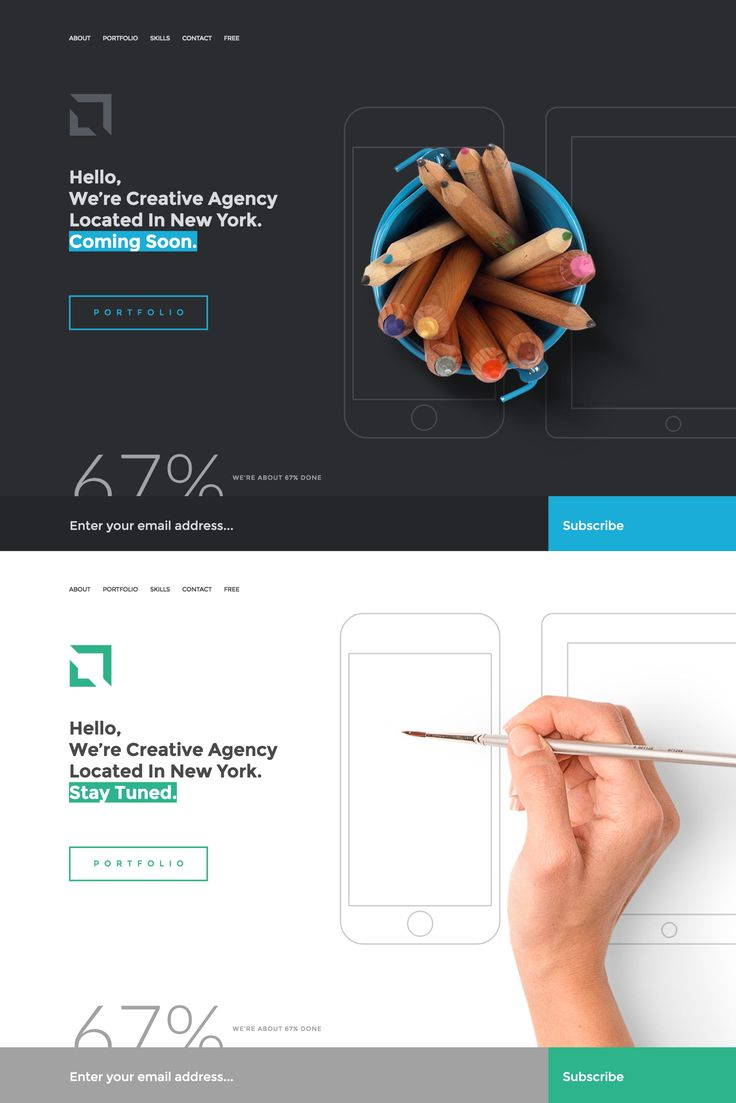 Sati is a free under construction WordPress theme that offers a dark or light color scheme, both pictured here. Other than the common newsletter sign up box, there are bonus (overlay) sections for About, Portfolio Gallery, Skills and Contact.