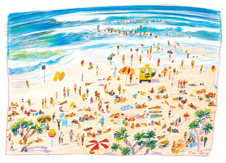Ken Done - shop / limited prints / surfers-beach-1985