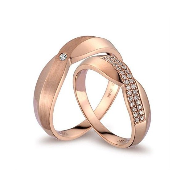 Luxurious Diamond Couples Wedding Ring Bands on 18k Rose Gold