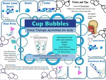 "Cup Bubbles for Kids Voice Therapy uses Semi-Occluded Vocal Tract Exercises to help train voice use without the use of ""pressing"" the vocal folds. It is intended to help children on your caseload with nodules, polyps and vocal overuse patterns improve speech and voicing."