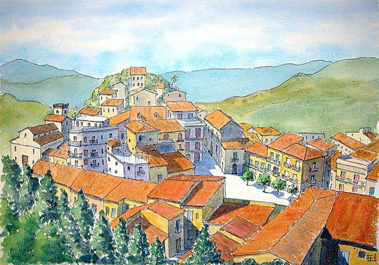 Galati Mamertino (Sicilia, Italy) Watercolor 2004