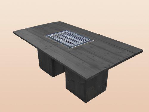 STEIGERHOUTEN BBQ TAFEL BLACK - BBQ: Gas bbq.  - Maat: L200 x B100 x H79 cm. - Kleur: Blank Wash.