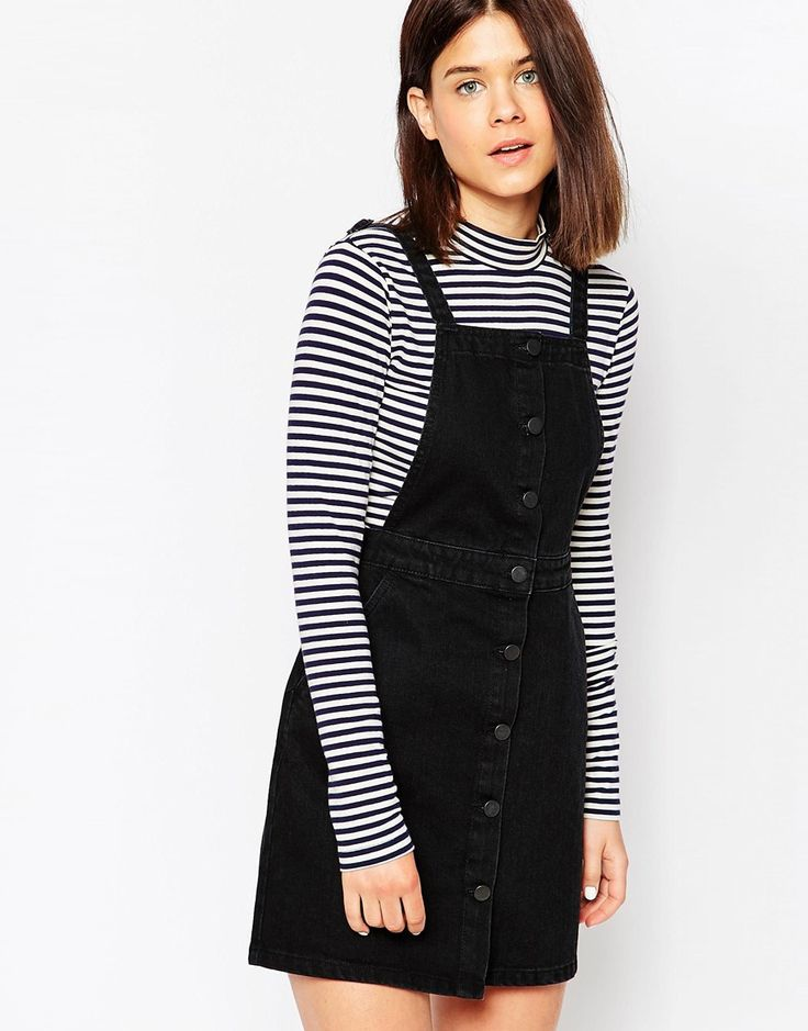 ASOS+Denim+Aline+Button+Through+Pinafore+Dress+In+Washed+Black