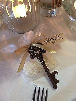 Vintage Wedding favour / bomboniere antique style key bottle opener with white chocolate