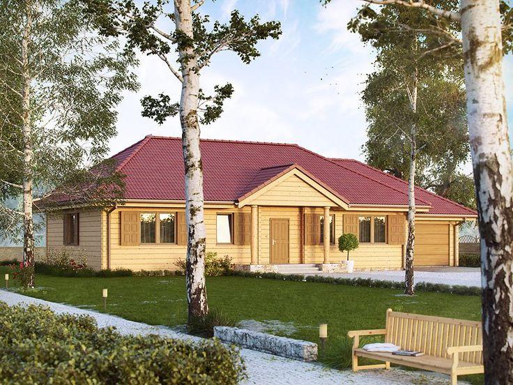 Projekt domu jednorodzinnego drewnianego, parterowego. Układ funkcjonalny – pokój dzienny połączony z jadalnią, kuchnia, 3 pokoje, łazienka, kotłownia oraz garaż.