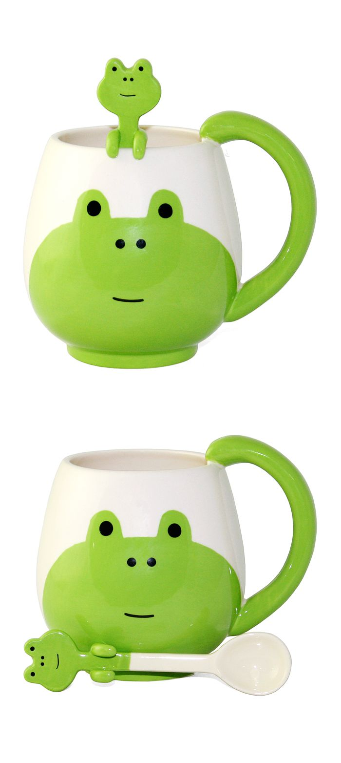 Frog mug and spoon // cute - it hangs on the side of the cup! #product_design