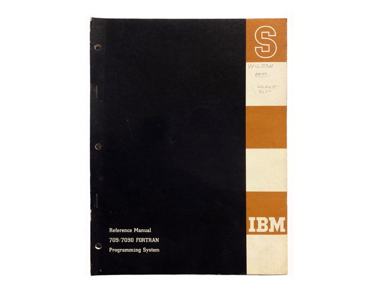 Paul Rand (attributed) book cover design, 1958-61. IBM Reference Manual: 709/7090 FORTRAN Programming System by NewDocuments on Etsy
