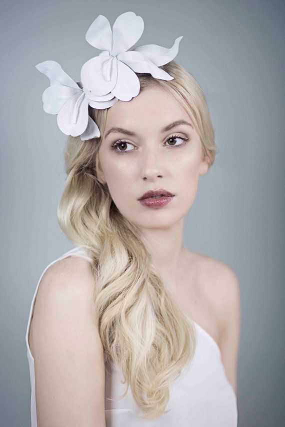 White Orchid Headband Leather Flower by MaggieMowbrayHats on Etsy