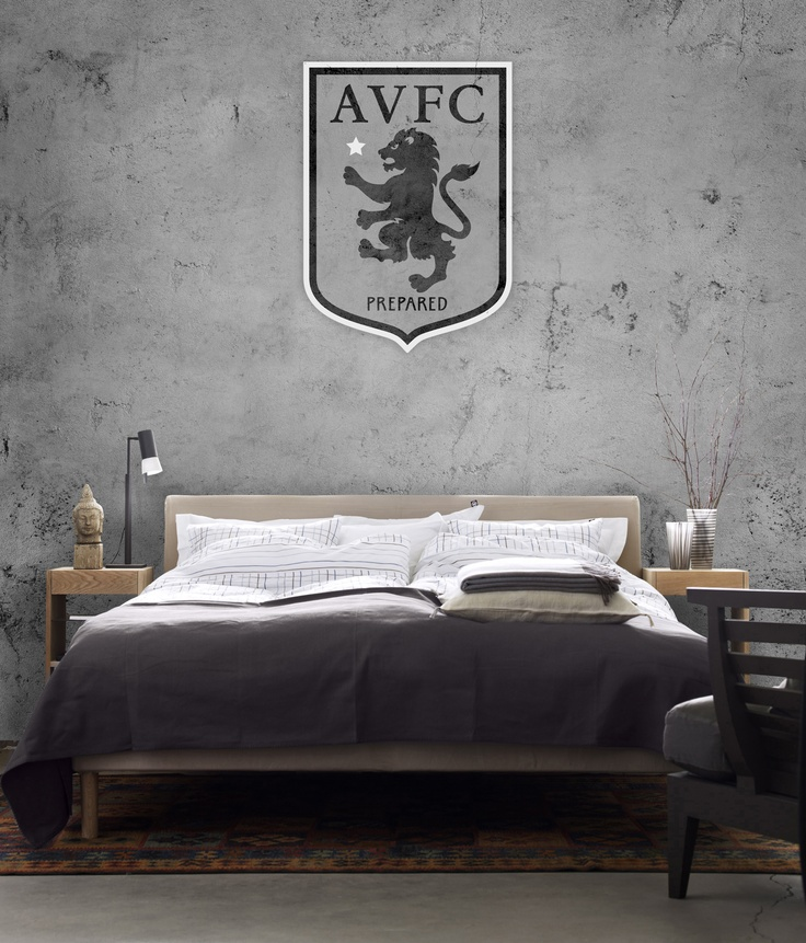 Aston Villa FC - Black and White Crest on Concrete