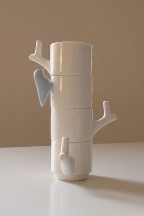 Ceramic Cup With Bird Handle Design By Chris Koens 1
