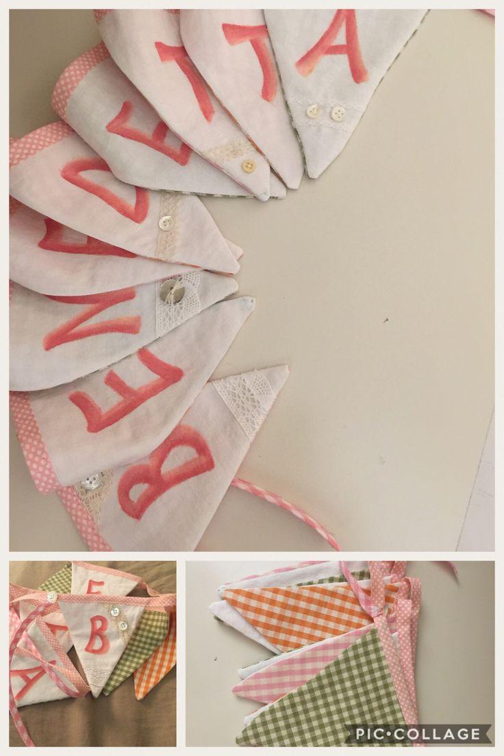 Bandierine pittura su stoffa realizzate per nascita bimba