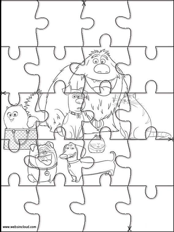 Das geheime Leben der Haustiere 19 druckbare Puzzles zum Ausschneiden für Kinder   – Printable jigsaw puzzles to cut out for kids