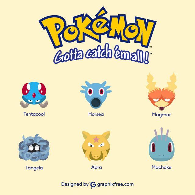 Pokemons: Tentacool, Horsea, Magmar, Tangela, Abra, Machoke - #pokemons #go #pokemongo #pokemoncard #tentacool #horsea #magmar #tangela #abra #machoke #games #gaming #manga #shinypokemon #nintendo #cosplay #catch #collecting #park