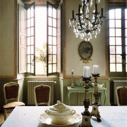 The dining room. A restored old French house