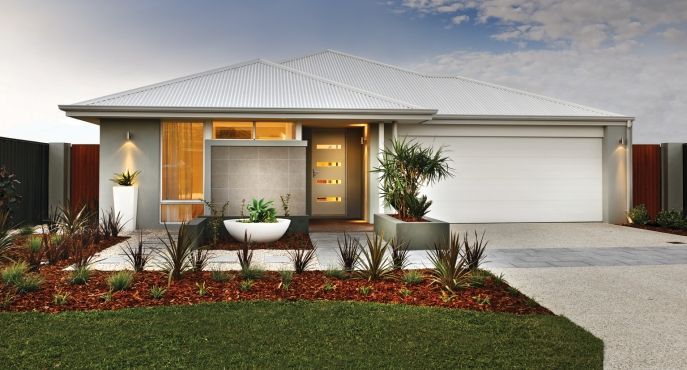 The Nicholson's stunning elevation features a rendered facade, feature tiled wall and Colorbond roof