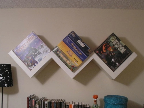 Shelf Pr0n Central | BoardGameGeek -- LOVE this 'W' shelf.