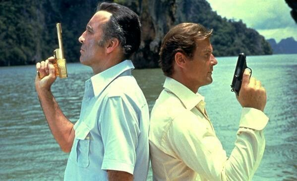 The man with the golden gun Roger Moore Christopher Lee