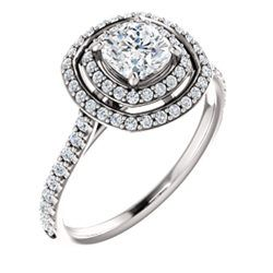 White gold engagement ring with cushion cut diamond & melee diamonds