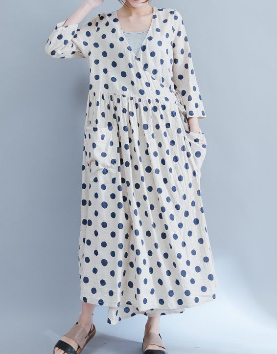 Women loose fit over plus size polka dots linen dress maxi pocket tunic pregnant #Unbranded #dress #Casual