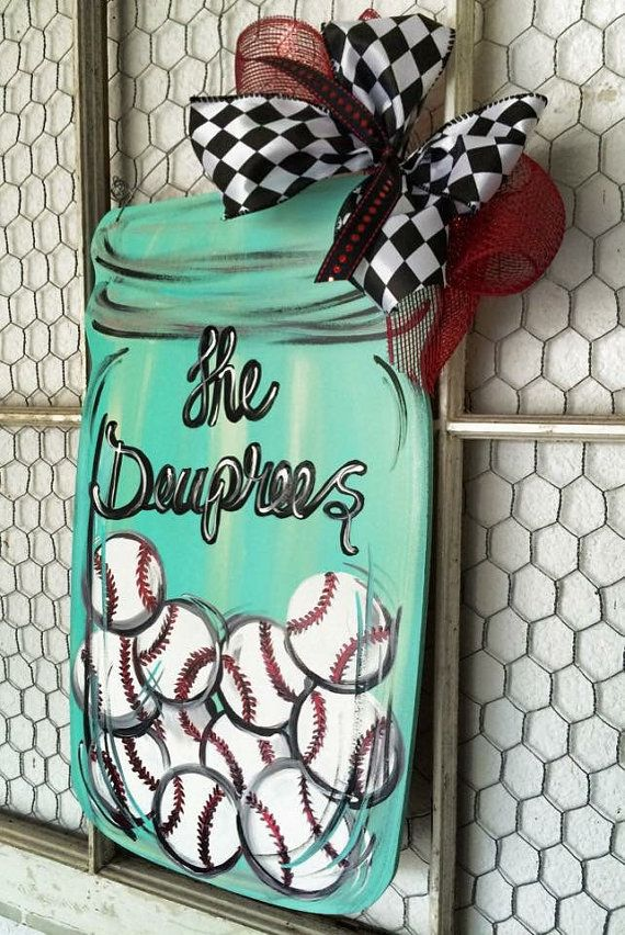 Baseball Mason Jar Door Hanger By Lauriecoledesigns On Etsy Door Wall Hangers And Signs Pinterest Jars Masons And Love This
