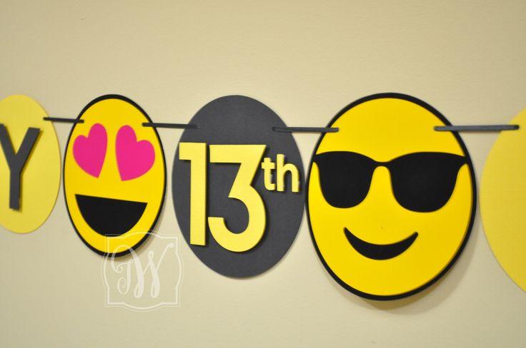 Emoji inspired Birthday Banner - Emoji party - Emoji Birthday - Teenager Party - teenager Birthday Party by IWHandCraftedDesigns on Etsy https://www.etsy.com/listing/502139957/emoji-inspired-birthday-banner-emoji