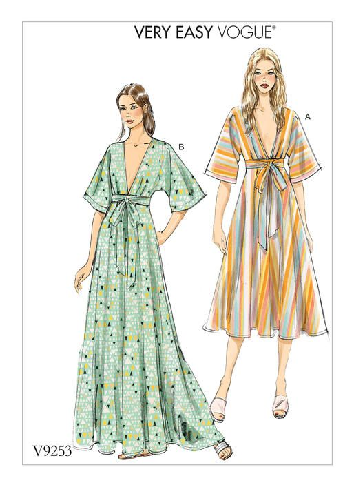 Vogue Patterns MISSES' DEEP-V KIMONO-STYLE DRESSES WITH SELF TIE 9253