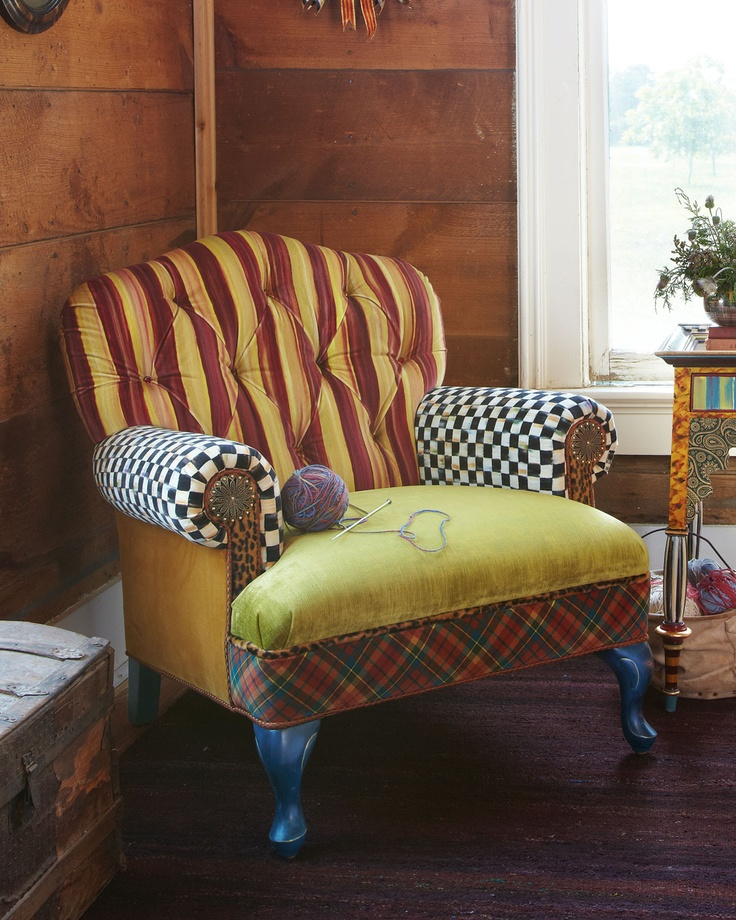 Royals Club Chair - MacKenzie-Childs (Four-legged Luxury Chair / ottoman  Fabric