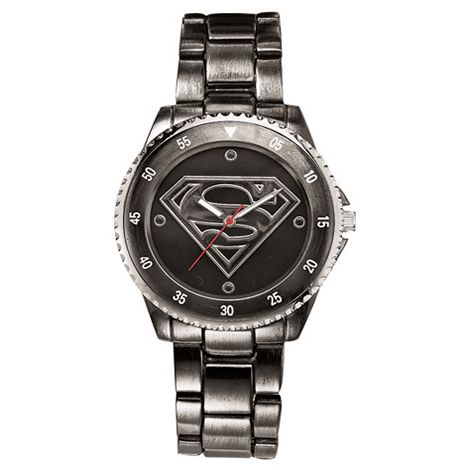 Superman Watch ~ For your own personal superhero, this gunmetal watch embodies bravery and strength, and of course, a Super dose of good fun. Perfect for every day to highlight his casuals and add a subtle hint of personality to his dressy pieces. Gunmetal and etched silvertone. Faux-stone-accented dial. Faux-chronograph bezel. Bracelet, 23cm long.  GOOD TO KNOW: All of Avon's jewelry is nickel-free for those with sensitive skin & allergies to nickel.