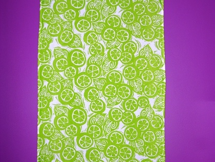 Plum Jam Lino Cut Tea Towel - Freshly Squeezed