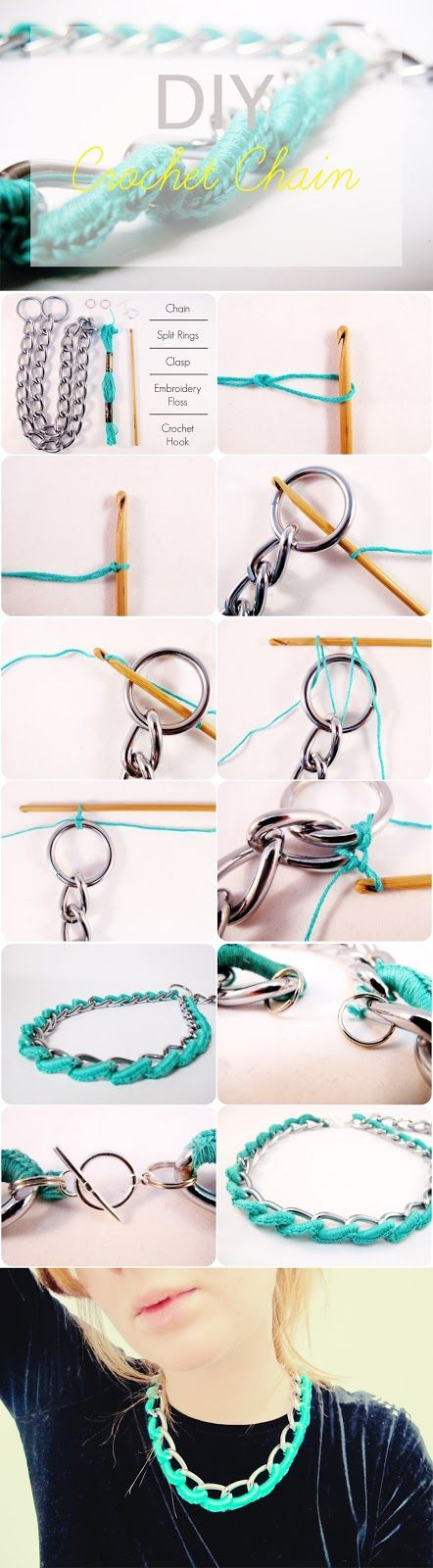 teahab: DIY: Embellish Statement Crochet Necklace Jewellery Tutorial