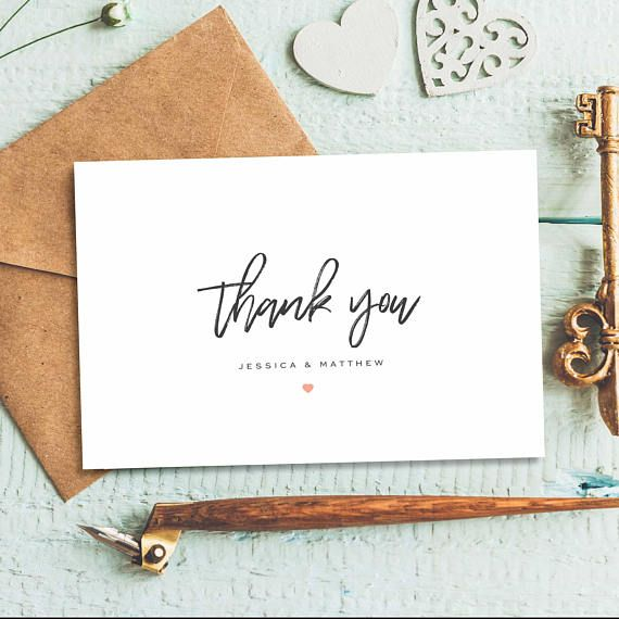 Folded Thank You Card Wedding Thank You Cards Thank You Etsy Thank You Card Design Personalized Thank You Cards Thank You Cards