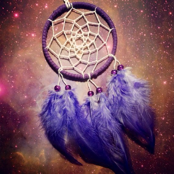 Purple suede dream catcher with purple feathers, white web and & glass bead finish 7cm diameter dreamcatcher hand made on Etsy, £5.50