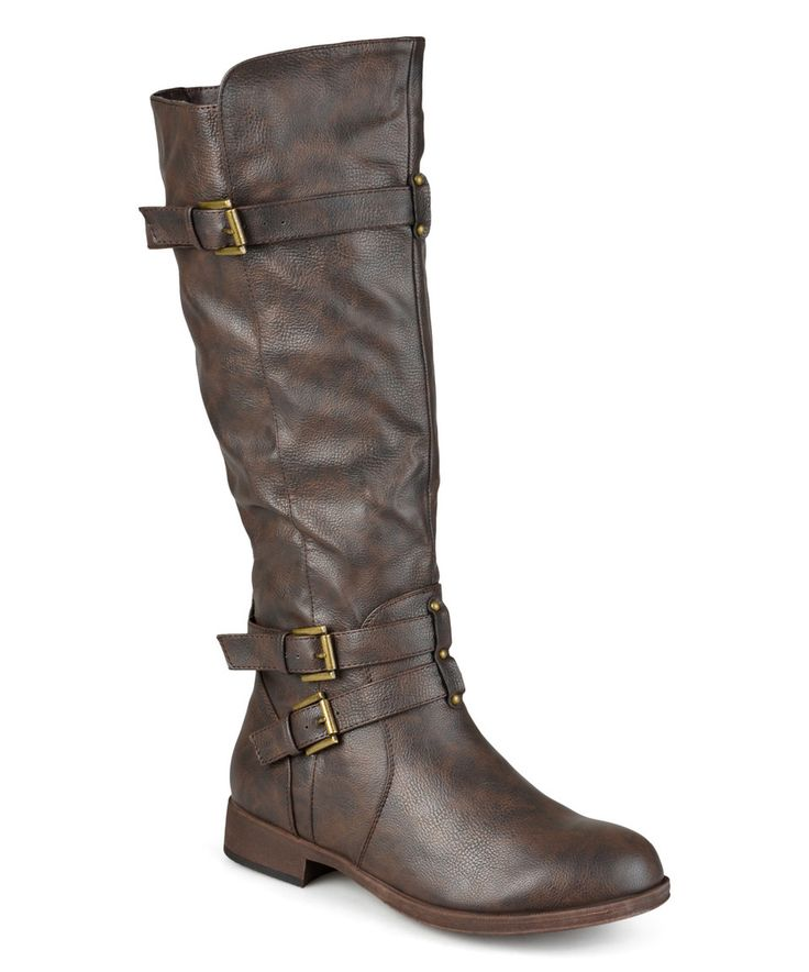 Another great find on #zulily! Journee Collection Brown Bite Wide-Calf Riding Boot by Journee Collection #zulilyfinds