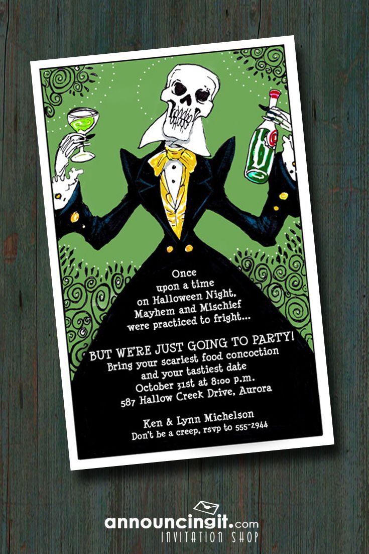 Elegant Skeleton Halloween Invitations Halloween party