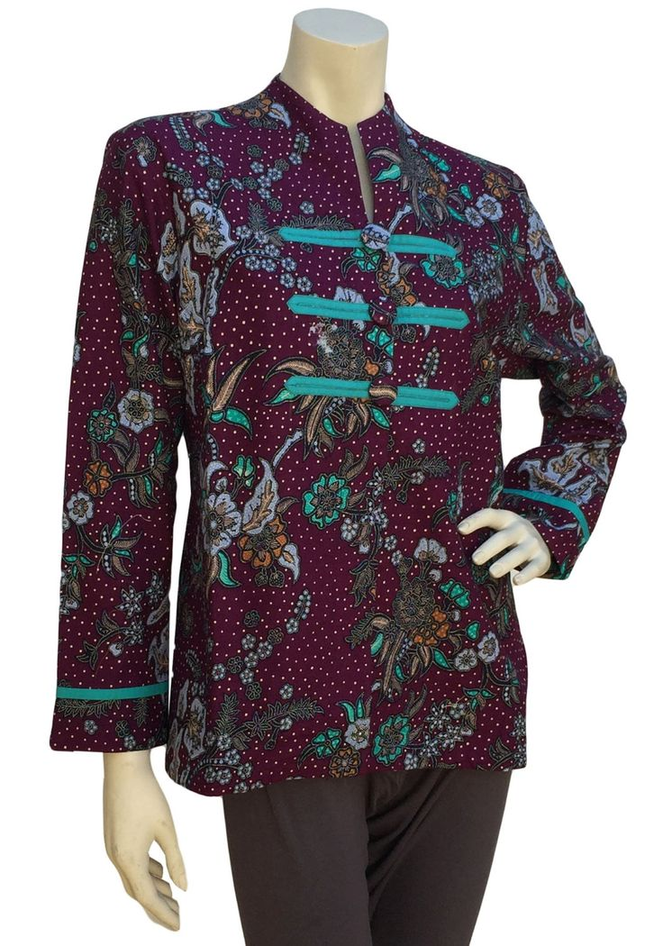 Batik Blouse Front Button Accent by GayaKorner on Etsy